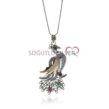 Söğütlü Silver Telkari Kolye Renkli
